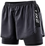 2XU Women's Run Short With Compression, BLK/BLK - WR2402b