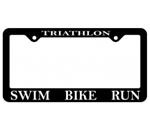 Triathlon License Plate Frame, Swim Bike Run